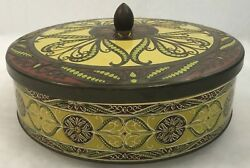 Vintage England Metal Tin Round Container With Lid Yelow Green Burgandy Floral