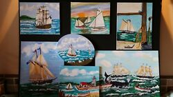 Original Folk Art Nautical Paintings In Oil Or Acrylic By Katherine A. Wilso