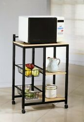 Kitchen Rack Mobile Cart 3 Tier Shelves Portable Microwave Storage Wheels Black