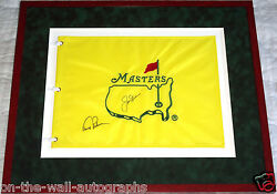Jack Nicklaus Arnold Palmer Hand Signed Framed Masters Flag With Exact Proof+coa