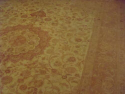 Hand knotted fine light colored gold Persian Tabriz Rug 8' feet by 11' 361 Kpsi