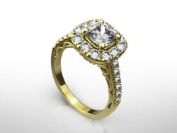 2.5 Carat Cushion D/vs2 Diamond Solitaire Engagement Ring Gift 14k Yellow Gold