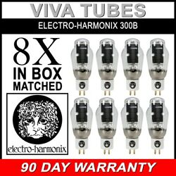 New Current Matched Octet 8 Electro-harmonix 300b Gold Pins Ceramic Tubes