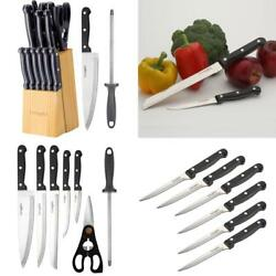 Stainless Steel Kitchen Knife Block Set Block 14 Piece For Home Cooking Culinary