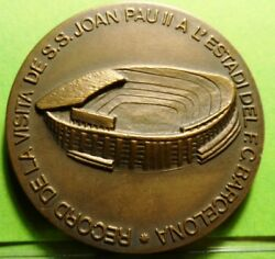 Medal - Pope Joannes Paulus Ii1982 Visit To The F.c. Barcelona Unc