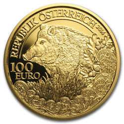 2014 Austria Proof Gold €100 Wildlife In Our Sights Wild Boar - Sku 86000