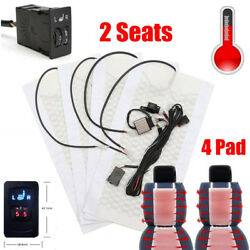 4x Carbon Fiber Car Auto Seat Heater Cover Pads + 5 Switch Warm Winter Universal