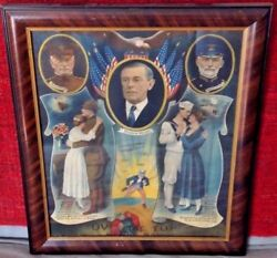 President Woodrow Wilson Wwi Over The Top With Uncle Sam Framed Print Poster