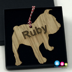 Personalised Dog Puppy Xmas Wooden Oak Decoration Bauble 140 Breeds Available
