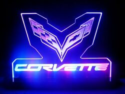 Corvette Flag Racing Chevrolet Table Lamp Auto Car Man Cave Garage Signs Gift
