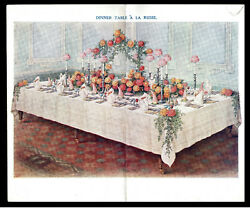 Dinner Table A La Russe - Mrs Beeton - Cookery 1907 Chromolithograph