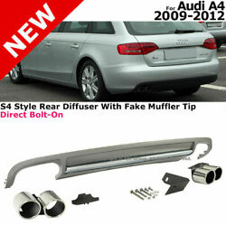 For 09-12 Audi A4 B8 S4 Style Rear Bumper Quad Exhaust Muffler Tips Diffuser