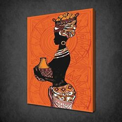 African Lady Ornage Theme Canvas Print Picture Wall Art Free Fast Uk Delivery