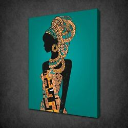 African Lady Green Theme Canvas Print Picture Wall Art Free Fast Uk Delivery