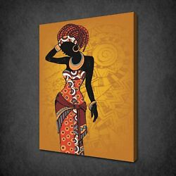African Lady Yellow Theme Canvas Print Picture Wall Art Free Fast Uk Delivery