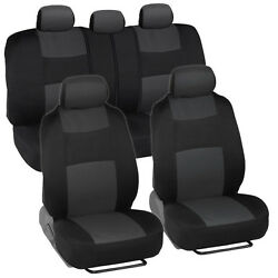 Car Seat Covers For Ford Focus 2 Tone Charcoal And Black W/ Split Bench