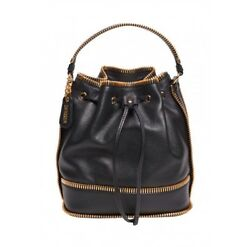 $2295 Moschino Couture Jeremy Scott Quilted All Zippers Black Leather Bucket Bag