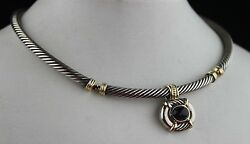 Vintage David Yurman 14k Gold And Sterling Silver Onyx Cable Necklace Pendant