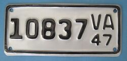 1947 Virginia Motorcycle License Plate professionally restored with letter DMV