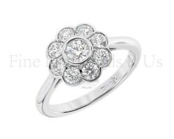 1.00 Carat Round Brilliant Cut Diamond Halo Engagement Ring Available In 9k Gold