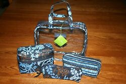 NWT Vera Bradley 4 PIECE pc COSMETIC ORGANIZER  large case bag clear tote travel