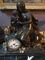 French 19th Century French Mantle Clock Marble Bottem