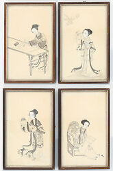 Antique Chinese Qing Dynasty Export Gouache On Paper Painting 19th Century