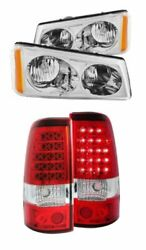 Anzo Pair Chrome Crystal Headlights And Two Led Tail Lights Kit For Silverado 2500