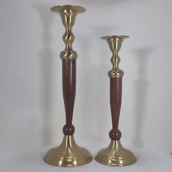 Vintage Mid Century Solid Brass and Wooden Candlestick Holders Tiered Pair
