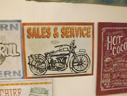 Vintage Rusty Metal Motorcycle Sign Sales And Service 30 X 23 Indian Gas Oil