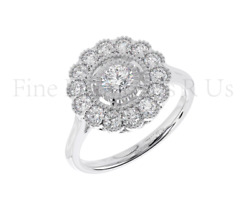 0.75carat Round Brilliant Cut Diamond Halo Engagement Ring Available In 18k Gold