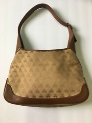 BROOKS BROTHERS Brown Signature Canvas Leather Shoulder Hobo Tote Purse Bag
