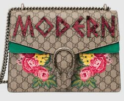 GUCCI DIONYSUS EMBROIDERED LOGO AND GREEN SUEDE SHOULDER BAG