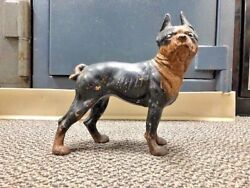 Vintage Antique Large Cast Iron Boston Terrier Bull Dog Door Stop Statue