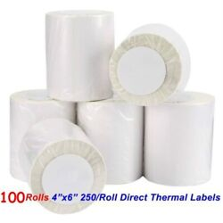 100 Rolls Direct Thermal Labels 250/roll 4x6 For Zebra Lp2844 Eltron Zp450