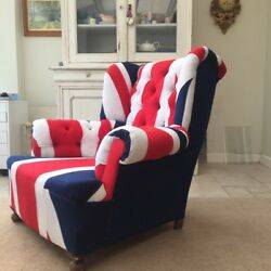 Vintage French Club Chairs Circa 1930s Re-upholstered In Union Jack