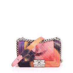 Chanel Limited Edition Flower Power Boy Flap Bag Quilted Lambskin Small