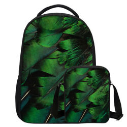Vivid Peacock Feather Backpack Bag Large School Bookbag Messenger Bag for Kids