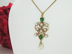 Antique Art Nouveau 18k Gold Necklace With Green Jade And Pearls, Authentic
