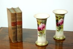 Royal Worcester Hand Painted Roses Tall Trumpet Vases In Pair C1917 [pl4150]
