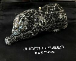 New Judith Leiber Black Wildcat Panther Crystal Clutch Bag Minaudiere $5495
