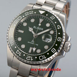 43mm bliger green dial GMT hand ceramic sapphire glass automatic mens watch B40