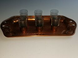 Vintage Cordial / Shot Glass Set - Etched Glass - Copper Sleeved - Matching Tray