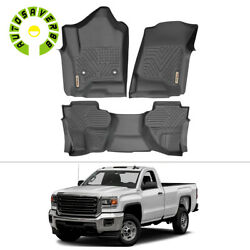 Floor Mats Liners For 2015-2018 Silverado 1500 2500hd 3500hd Double Extended Cab
