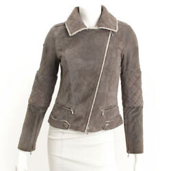 AUTHENTIC CHANEL LAMB LEATHER RIDERS JACKET P41842W04964 GREY GRADE AB USED -AT