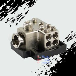 Gold Power Ground Distribution Block 1/0 Or 2 In And One 4 And Four 8 Gauge Out Amp