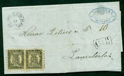 Finland 1869 10p Pair Tied Wiborg To Lauritsala Ank Arrival Marking Facit 2,250