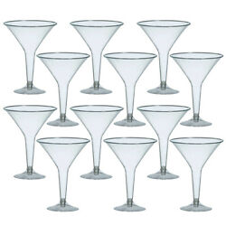 12 Large Disposable Clear Plastic Glasses Martini Cocktail Party Drinks Glasses