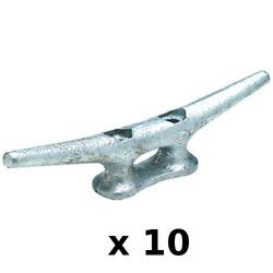 10 Pack Of 10 Inch Galvanized Gray Iron Open Base Cleats For Boats And Docks