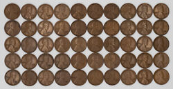 1921 S Lincoln Wheat Cent Penny 1c Vf / Vf + Very Fine Plus Full Roll 50 Coins